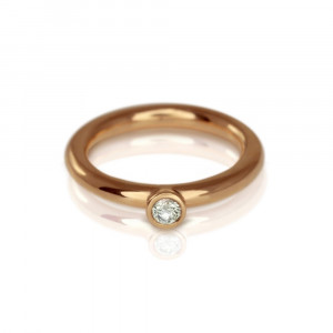 Red Gold Diamond Flute Ring by Scarab Jewellery Studio
