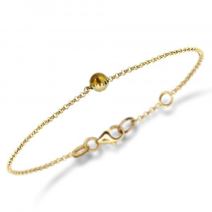 Dainty Daisy Citrine Cabouchon Gold Bracelet by Scarab Jewellery Studio