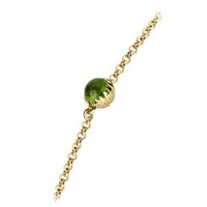 Dainty Daisy Peridot Cabouchon Gold Bracelet by Scarab Jewellery Studio