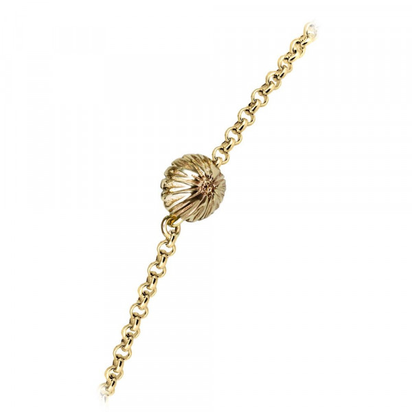 Dainty Daisy gemstone Cabouchon Gold Bracelet by Scarab Jewellery Studio
