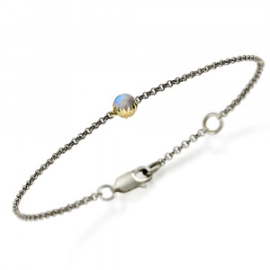 Dainty Daisy Rainbow Moonstone Cabouchon Bracelet by Scarab Jewellery Studio