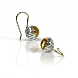 Daisy Citrine Cabouchon Drop Earrings by Scarab Jewellery Studio