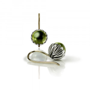 Daisy Peridot Cabouchon Drop Earrings by Scarab Jewellery Studio