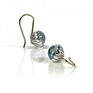 Daisy Blue Topaz Cabouchon Drop Earrings by Scarab Jewellery Studio
