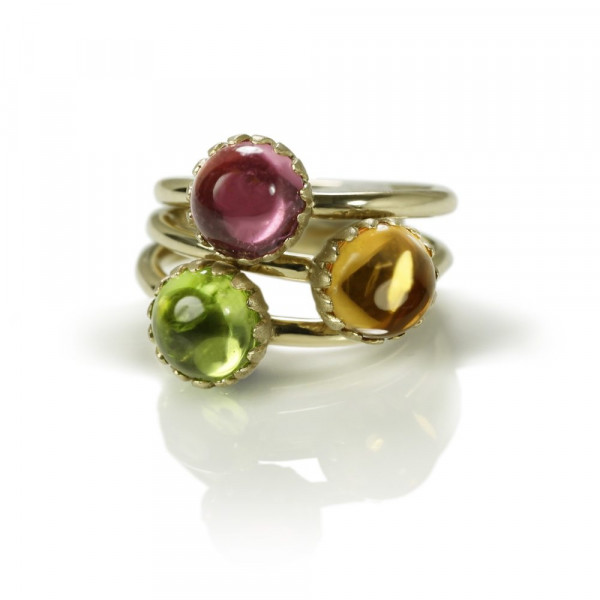 Daisy gemstone Cabouchon Gold Rings by Scarab Jewellery Studio