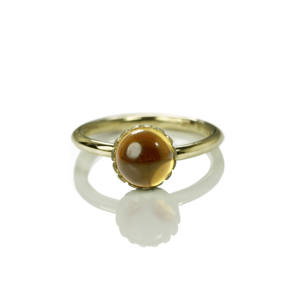 Daisy Citrine Cabouchon Gold Ring by Scarab Jewellery Studio