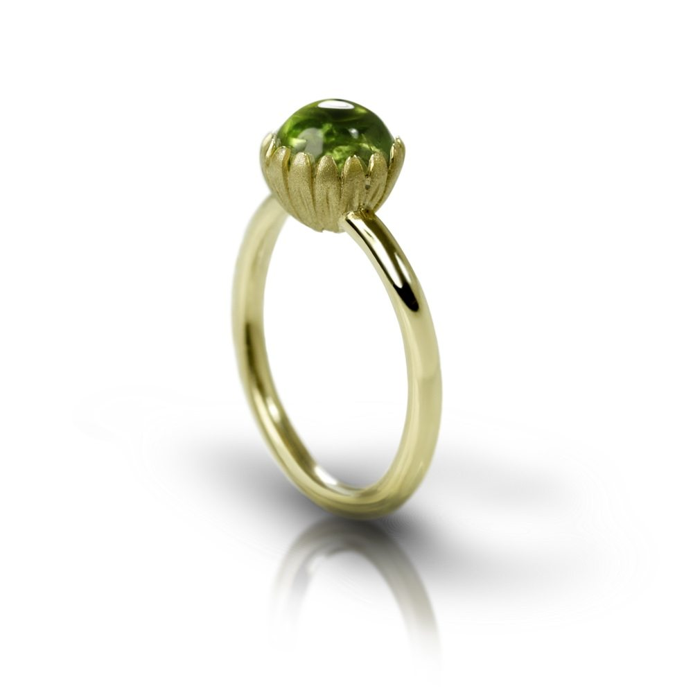 Daisy Peridot Cabouchon Gold Ring by Scarab Jewellery Studio