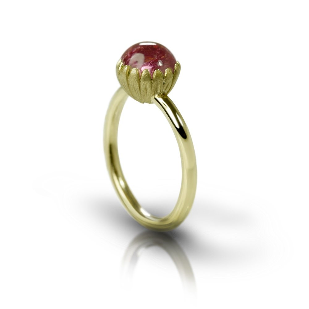 Daisy Pink Tourmaline Cabouchon Gold Ring by Scarab Jewellery Studio