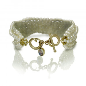 Six Strand White Pearl Bracelet by Scarab Jewellery Studio