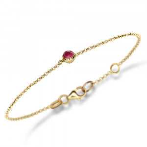 Dainty Daisy Pink Tourmaline Cabouchon Gold Bracelet by Scarab Jewellery Studio