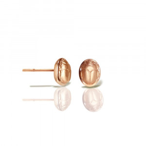 Rose Gold scarab stud earrings - rose gold chubby bean scarab studs - by Scarab jewellery Studio