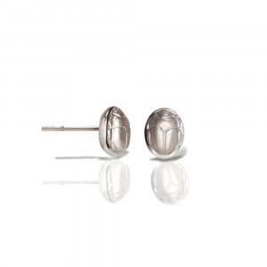 silver scarab stud earrings - silver chubby bean scarab studs - by Scarab jewellery Studio