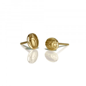 yellow gold scarab stud earrings - yellow gold chubby bean scarab studs - by Scarab jewellery Studio