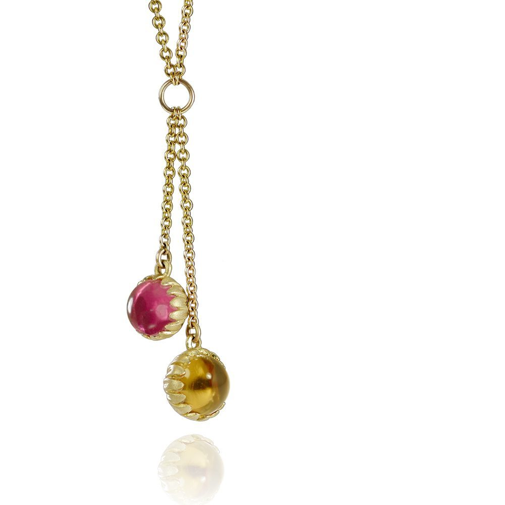 Gold Daisy Double Drop Pendant with Citrine and Pink Tourmaline cabouchons by Scarab Jewellery Studio