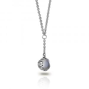 Silver Moonstone Daisy Drop Pendant by Scarab Jewellery Studio