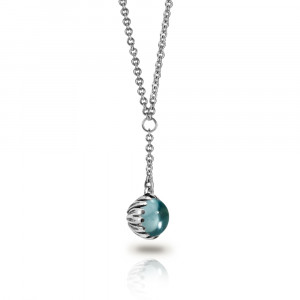 Silver Blue Topaz Daisy Drop Pendant by Scarab Jewellery Studio