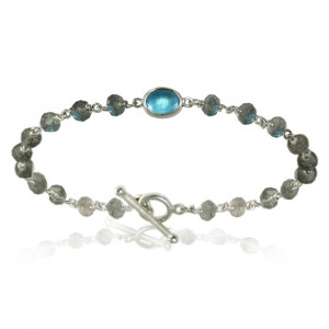 Blue Topaz Labradorite Bracelet with silver wirework by Scarab Jewellery studio