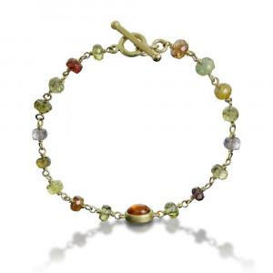 mandarin garnet natural sapphire bracelet by Scarab Jewellery Studio