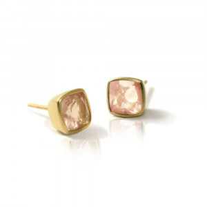Gold Rose Quartz Stud Earrings by Scarab Jewellery Studio