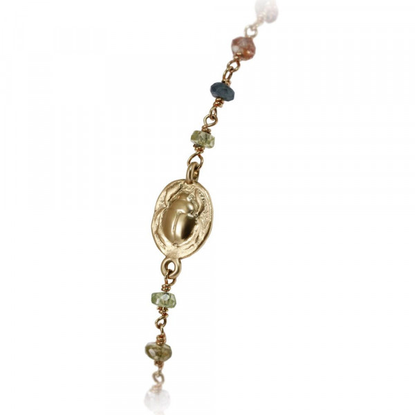 close up of scarab charm on sapphire multi colour faceted bead necklace by Scarab Jewellery Studio