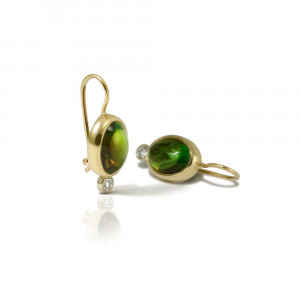 Forest Green Tourmaline Diamond Drop Earrings by Scarab Jewellery Studio