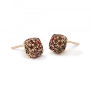 Gold Cognac Diamond Pave Earrings with one sapphire by Scarab Jewellery Studio