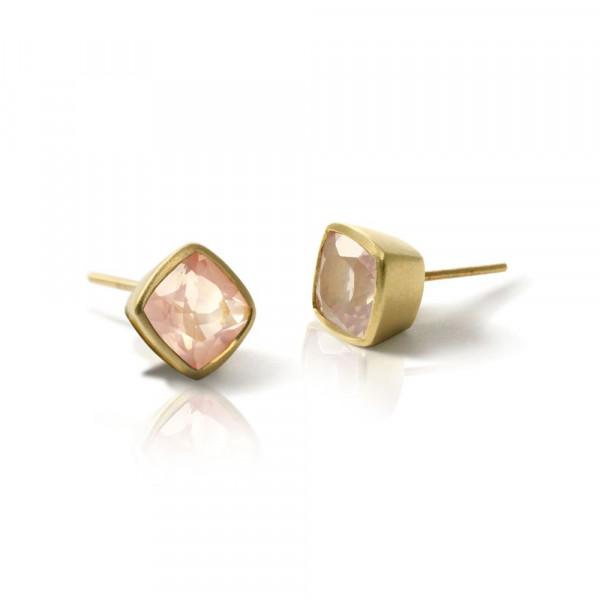 Gold Rose Quartz Stud Earrings by Scarab Jewellery Studio
