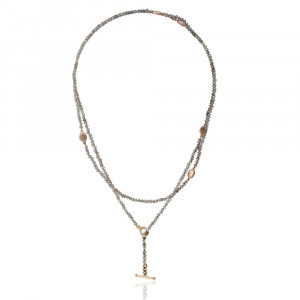 rose gold scarab labradorite faceted bead necklace by Scarab Jewellery Studio