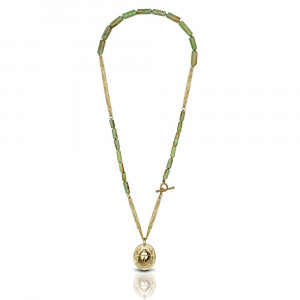 Gold Scarab Natural Turquoise Bead Necklace by Scarab Jewellery Studio