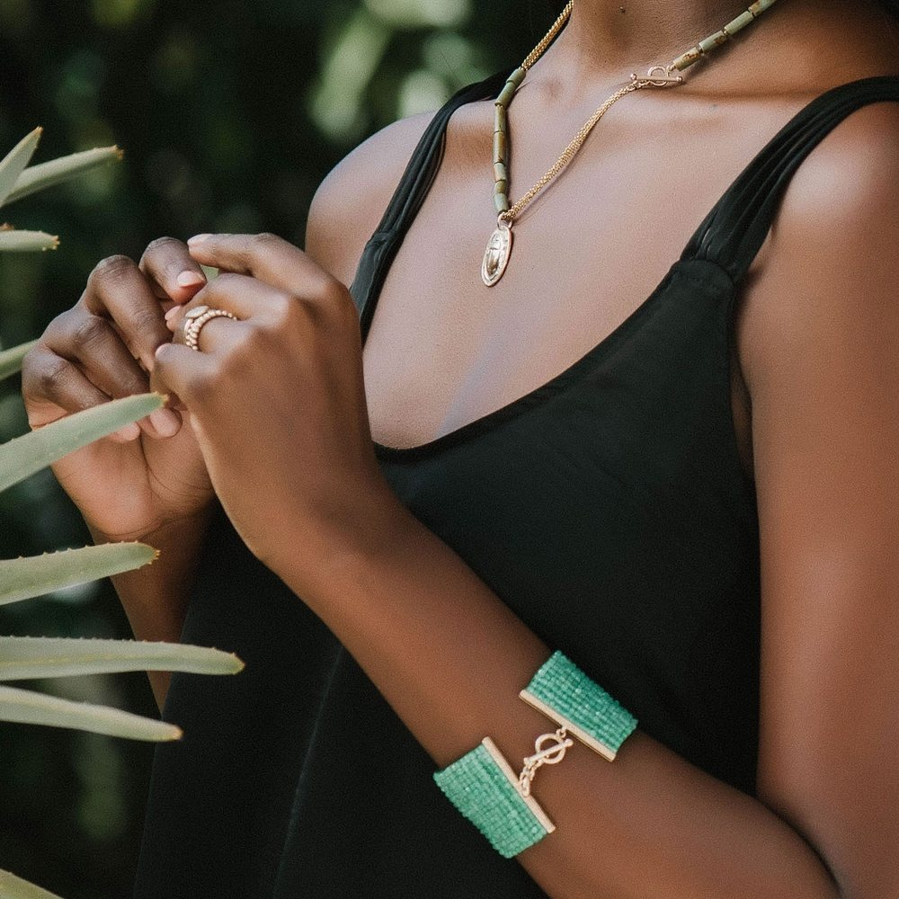 Green Chrysoprase Woven Cuff Bracelet and Gold Scarab Natural Turquoise Bead Necklace by Scarab Jewellery Studio shown on model by Scarab Jewellery Studio