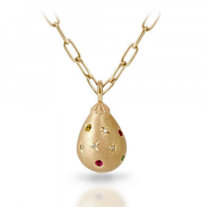 Gemstone Studded Gold Teardrop Pendant Necklace by Scarab Jewellery Studio