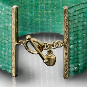 Green Chrysoprase Woven Cuff Bracelet by Scarab Jewellery Studio