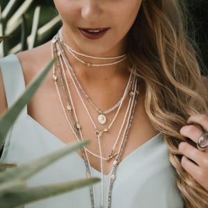 rose gold scarab labradorite faceted bead necklace worn with seed pearl wrap necklace by Scarab Jewellery Studio