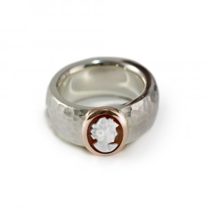 Modern Silver Cameo Ring by Scarab Jewellery Studio
