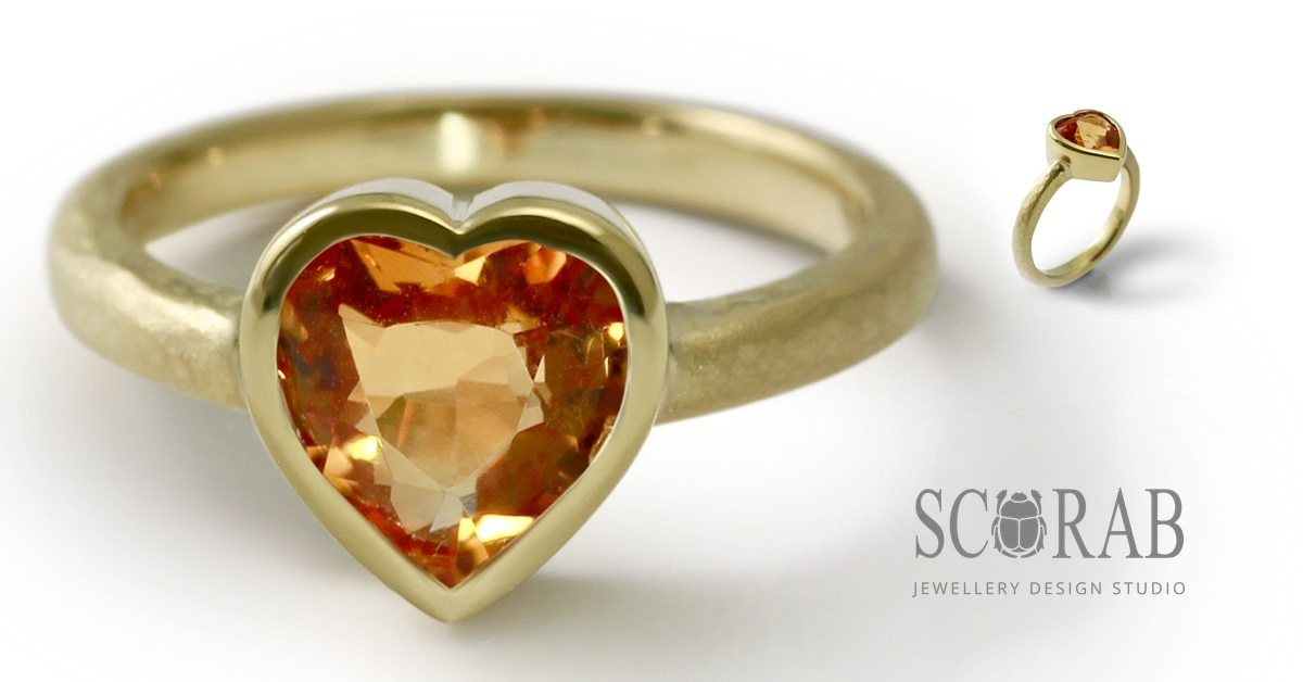 18 Carat Yellow Gold Citrine Heart Ring by Scarab Jewellery Studio