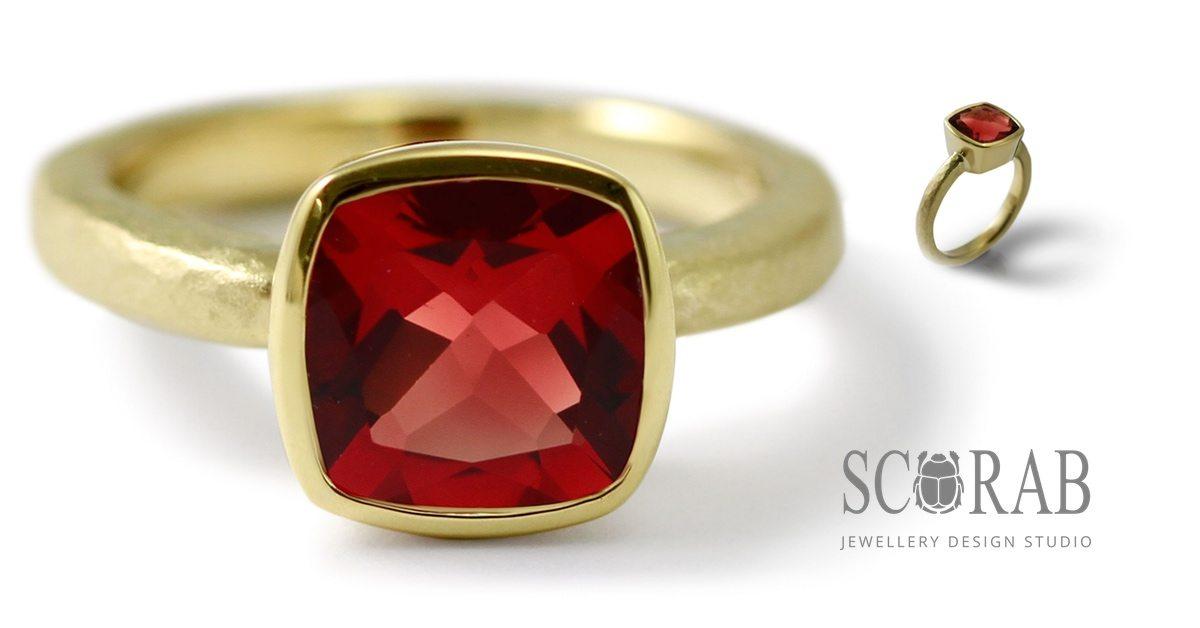 18 Carat Gold Red Feldspar Ring by Scarab Jewellery Studio