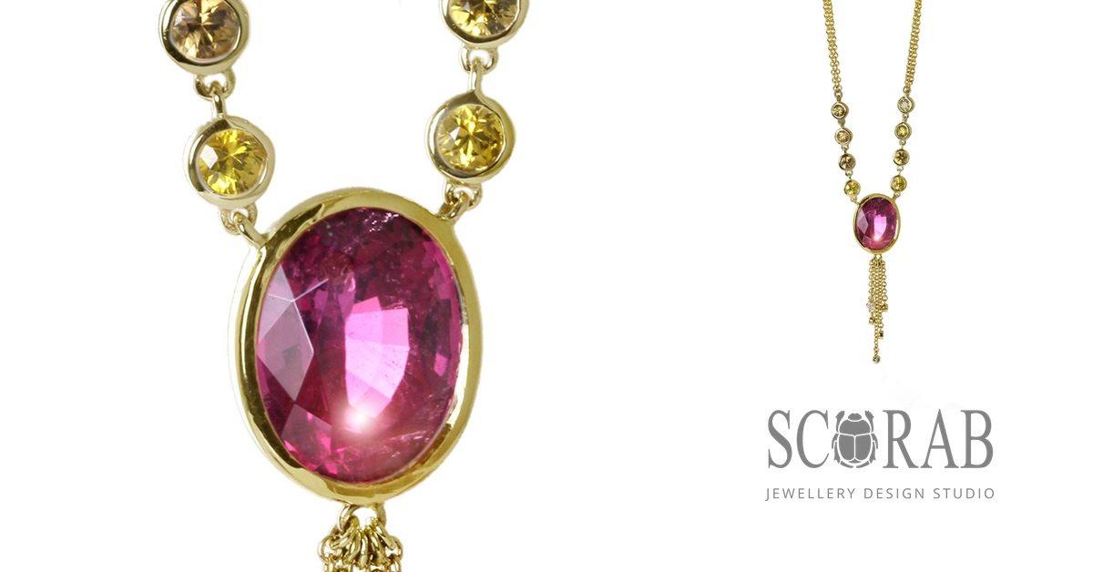 Gold Rubellite Tourmaline Diamond Necklace by Scarab Jewellery Studio
