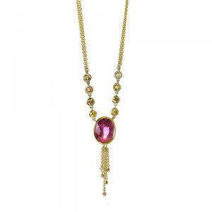 Gold Rubellite Tourmaline Diamond Necklace by Scarab Jewellery Studio
