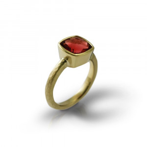 18 Carat Gold Red Feldspar Ring by Scarab Jewellery Studio