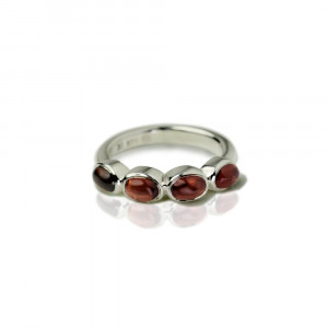 Silver Ring Four Garnet Oval Cabouchons by Scarab Jewellery Studio