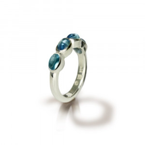 Silver Ring Four Blue Topaz Oval Cabouchons by Scarab Jewellery Studio