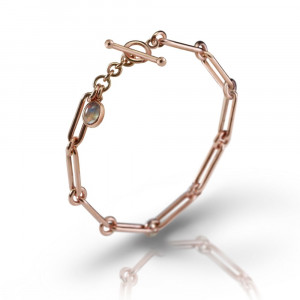 Rose Gold Link Moonstone Bracelet by Scarab Jewellery Studio