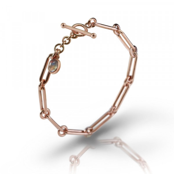 Rose Gold Link Moonstone Bracelet by Scarab Jewellery Studio