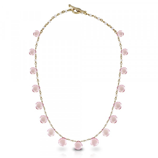 Rose Quartz Briolette Seed Pearl Necklace by Scarab Jewellery Studio