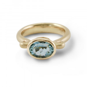 Aquamarine Gold Scroll Ring by Scarab Jewellery Studio