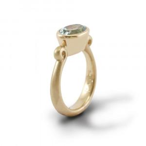 Aquamarine Gold Scroll Ring by Scarab Jewellery Studio