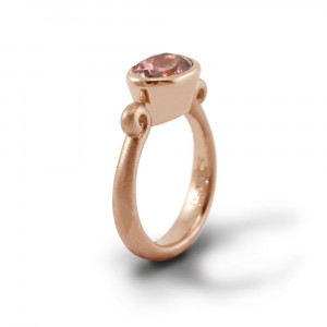 Morganite Gold Scroll Ring by Scarab Jewellery Studio