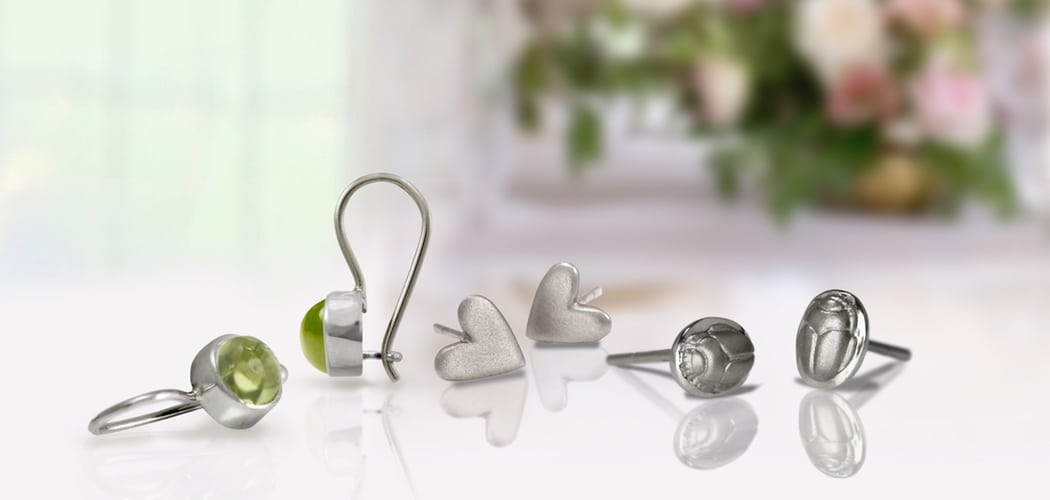 Silver Peridot Drop Earrings, silver chubby bean scarab stud earrings, tiny valentine heart earrings silver - by Scarab Jewellery Studio