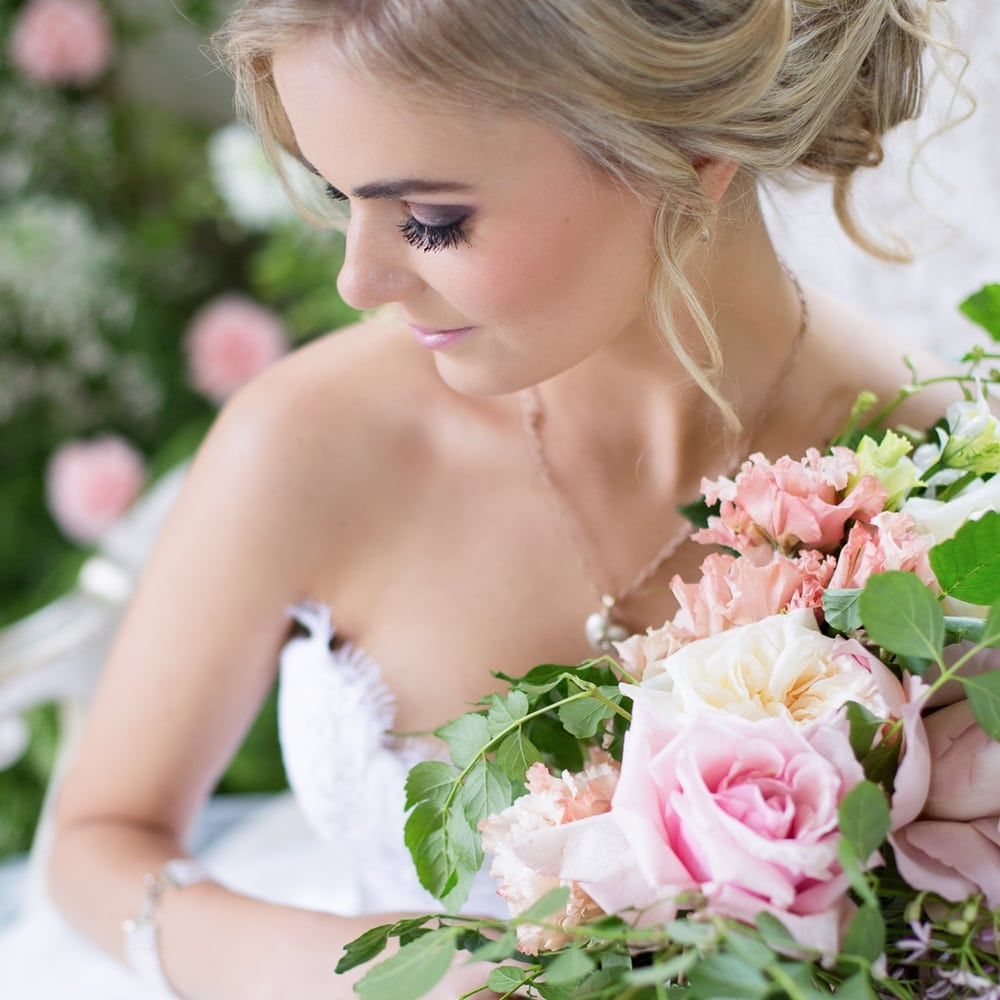 Bridal Jewellery Ideas South Africa - Rose Quartz Briolette Seed Pearl Necklace and spiral hoop diamond drop earrings by Scarab Jewellery Studio
