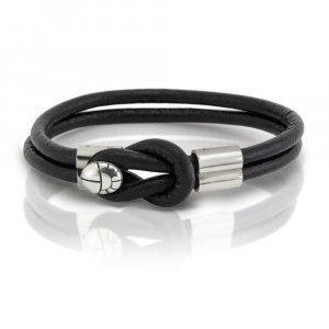 Silver Leather Mens Bracelet by Scarab Jewellery Studio